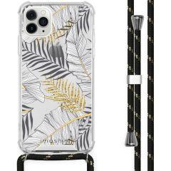 iMoshion Design hoesje met koord iPhone 11 Pro Max - Bladeren - Zwart