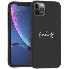 iMoshion Design hoesje iPhone 12 Pro Max - Fuck Off - Zwart