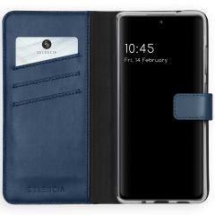 Selencia Echt Lederen Booktype Samsung Galaxy S20 FE - Blauw
