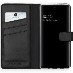 Selencia Echt Lederen Booktype Samsung Galaxy S20 FE - Zwart