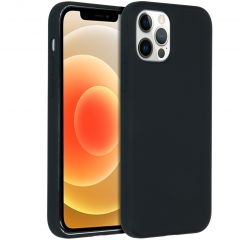 Accezz Liquid Silicone Backcover iPhone 12 Pro Max - Zwart