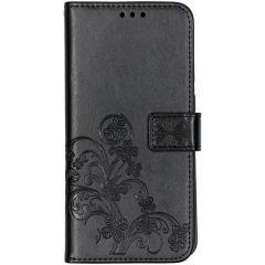 Klavertje Bloemen Booktype Samsung Galaxy A70 - Zwart