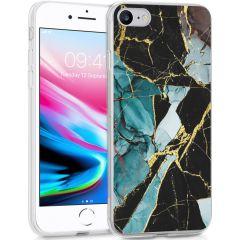 iMoshion Design hoesje iPhone SE (2020) / 8 / 7 / 6s - Marmer - Blauw