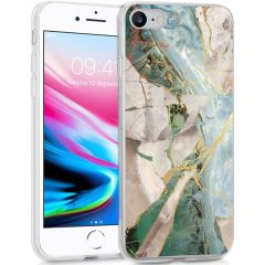 iMoshion Design hoesje iPhone SE (2020) / 8 / 7 / 6s - Marmer - Beige