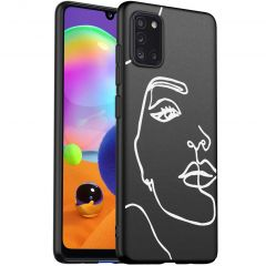iMoshion Design hoesje Samsung Galaxy A31 - Abstract Gezicht - Wit