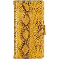 Slangenprint Booktype iPhone X / Xs - Geel