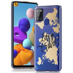 iMoshion Design hoesje Samsung Galaxy A21s - Let's Go Travel - Zwart