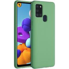 Accezz Liquid Silicone Backcover Samsung Galaxy A21s - Groen