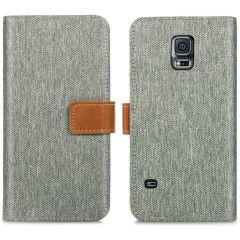 iMoshion Luxe Canvas Booktype Samsung Galaxy S5 (Plus) / Neo - Grijs