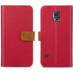 iMoshion Luxe Canvas Booktype Samsung Galaxy S5 (Plus) / Neo - Rood