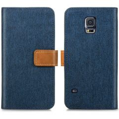 iMoshion Luxe Canvas Booktype Galaxy S5 (Plus) / Neo - Donkerblauw
