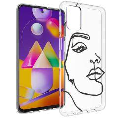iMoshion Design hoesje Samsung Galaxy M31s - Abstract Gezicht - Zwart