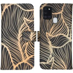 iMoshion Design Softcase Book Case Galaxy A21s - Golden Leaves