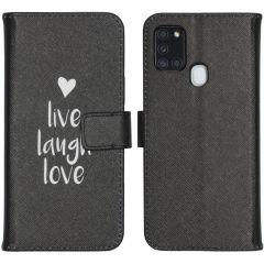 iMoshion Design Softcase Book Case Galaxy A21s - Live Laugh Love