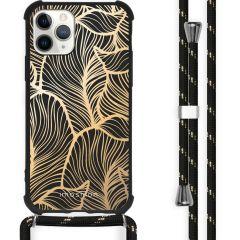 iMoshion Design hoesje met koord iPhone 11 Pro Max - Bladeren - Goud