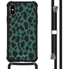 iMoshion Design hoesje met koord iPhone X / Xs - Luipaard - Groen