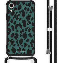 iMoshion Design hoesje met koord iPhone Xr - Luipaard - Groen / Zwart