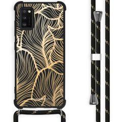 iMoshion Design hoesje met koord Samsung Galaxy A41 - Bladeren - Goud