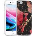 iMoshion Design hoesje iPhone SE (2020) / 8 / 7 / 6s - Marmer - Rood