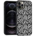 iMoshion Design hoesje iPhone 12 (Pro) - Bladeren - Zilver / Zwart